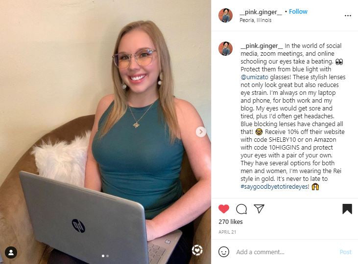 shelby higgins uses her Umizato blue blockers while on her laptop