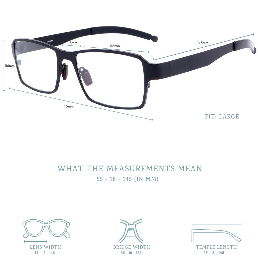 everest blue light blocking glasses measurements infographic.