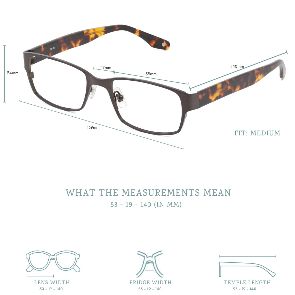 ouray blue light blocking glasses measurements infographic.