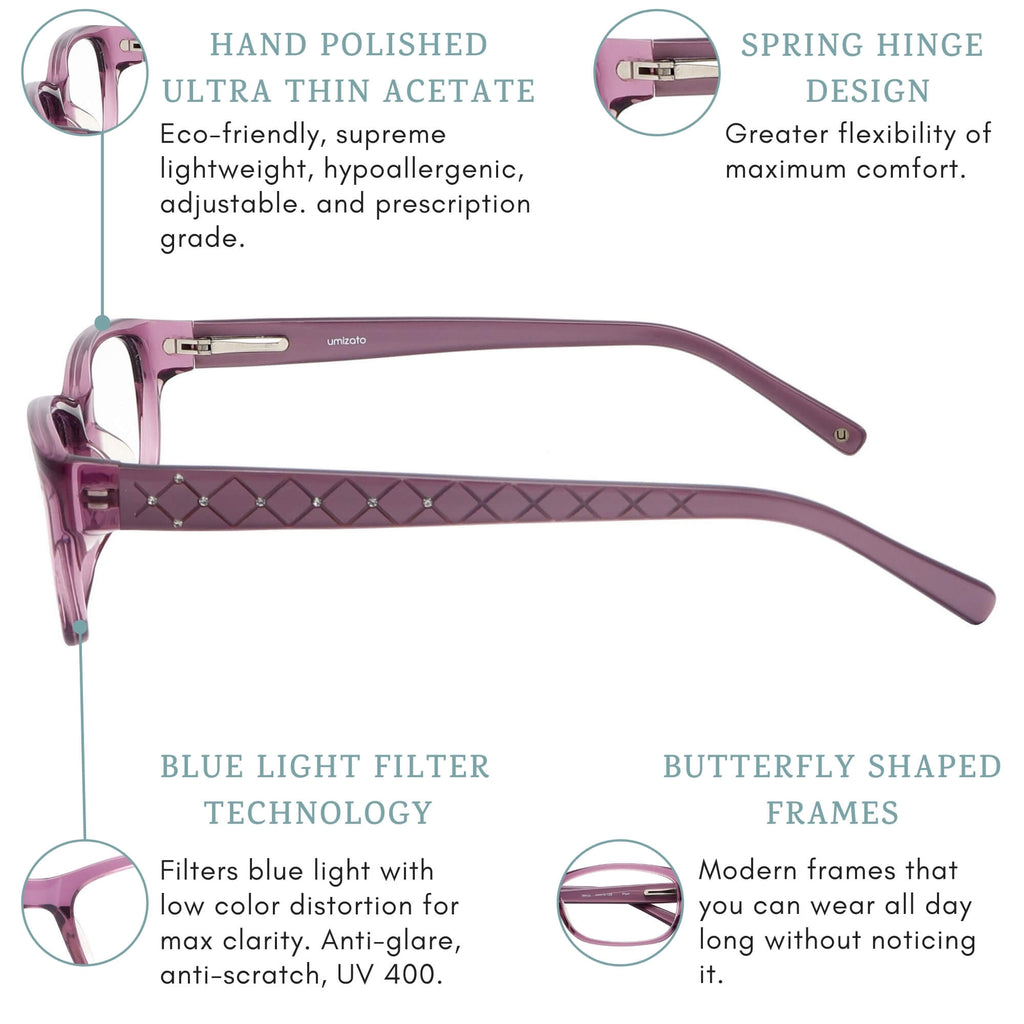 Olinda blue light blocking glasses features infographic