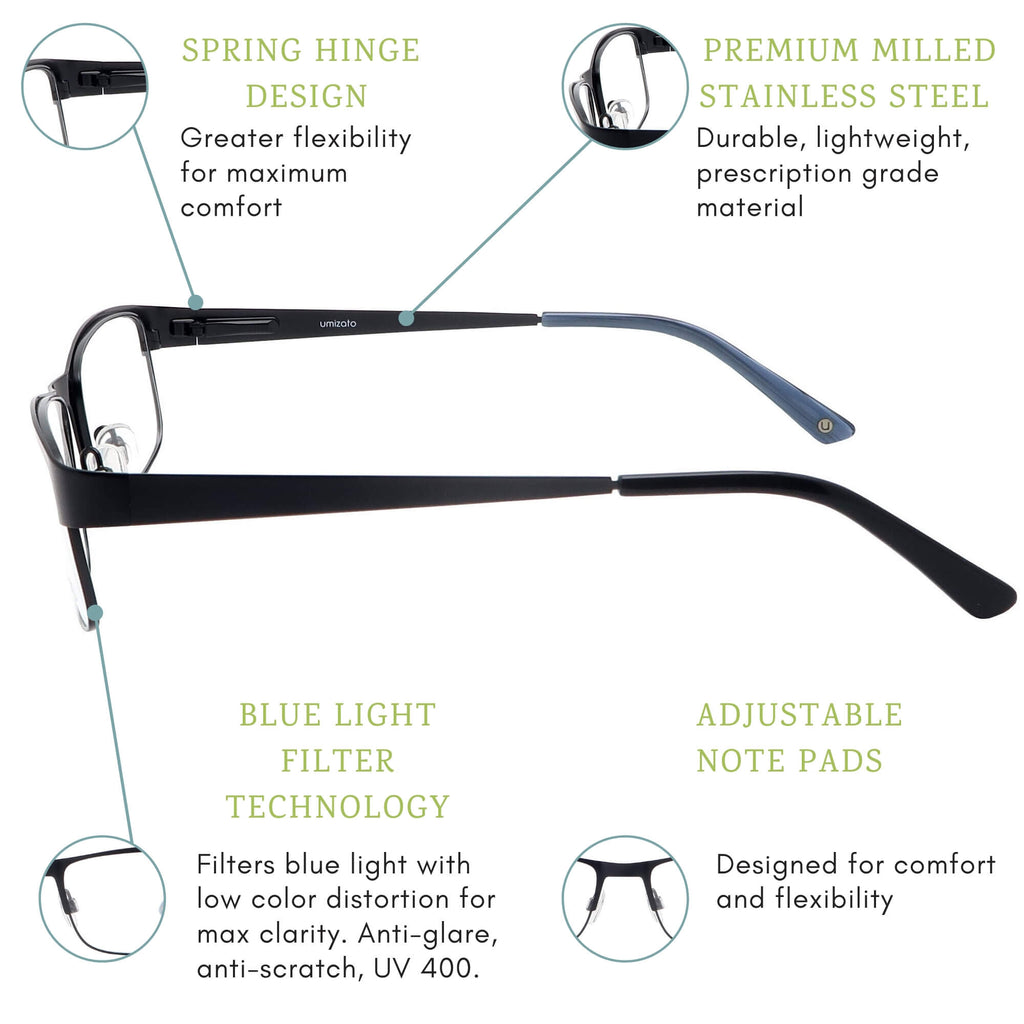 Austin blue light blocking glasses features infographic.