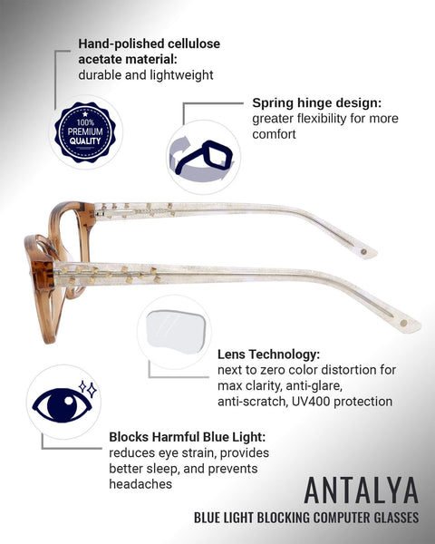 Antalya blue light blocking glasses features infographic
