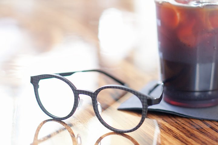 Eclipse Black Carbon Fiber Computer Glasses with Ice Coffee | Umizato
