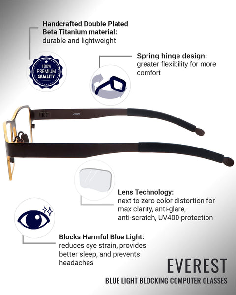 Everest blue light blocking glasses features infographic