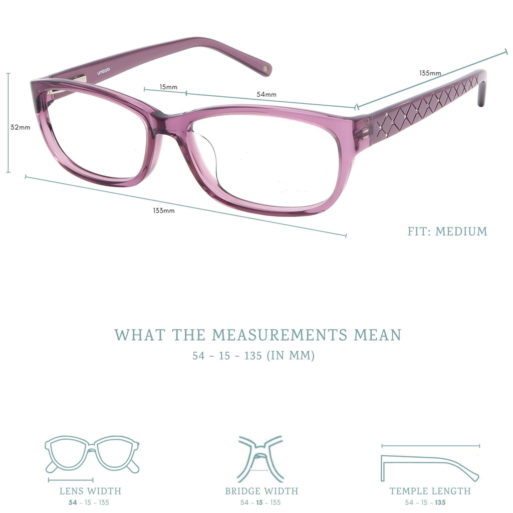Olinda blue light blocking glasses measurements infographic.