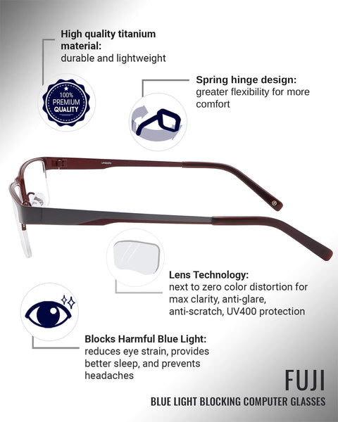 Fuji blue light blocking glasses features infographic