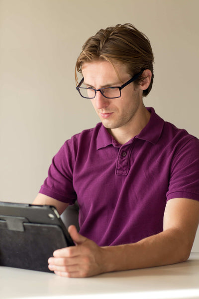 Man on Ipad with Umizato glasses