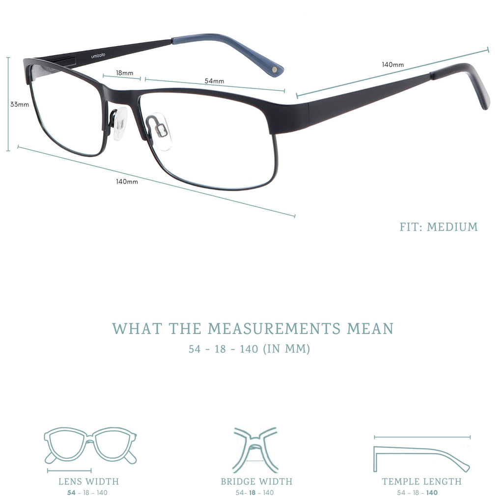 Austin blue light blocking glasses measurements infographic.