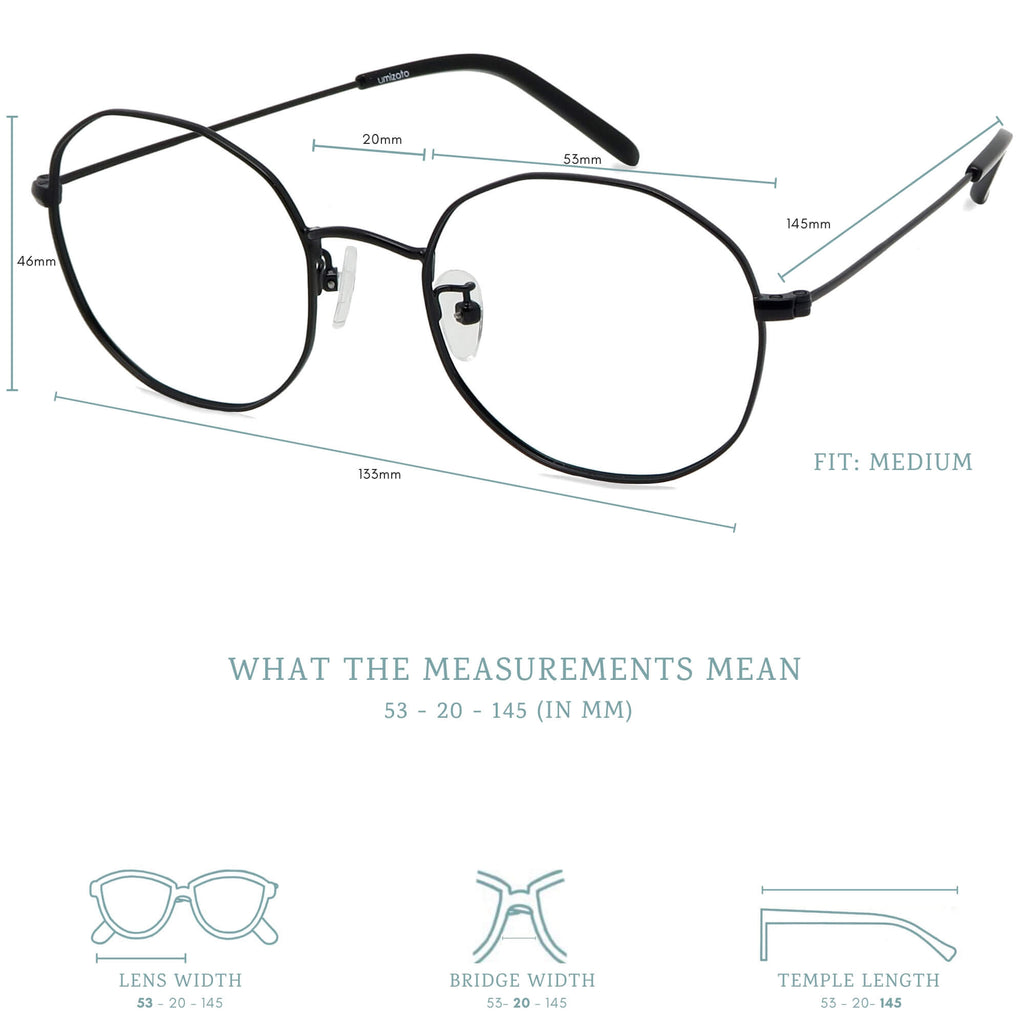 Kono blue light blocking glasses measurements infographic.
