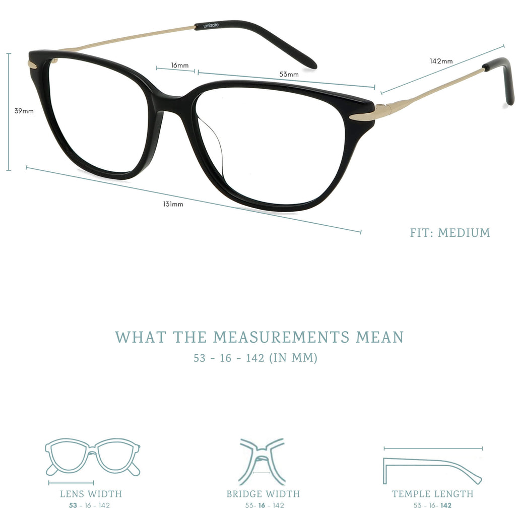 eiko blue light blocking glasses measurements infographic.