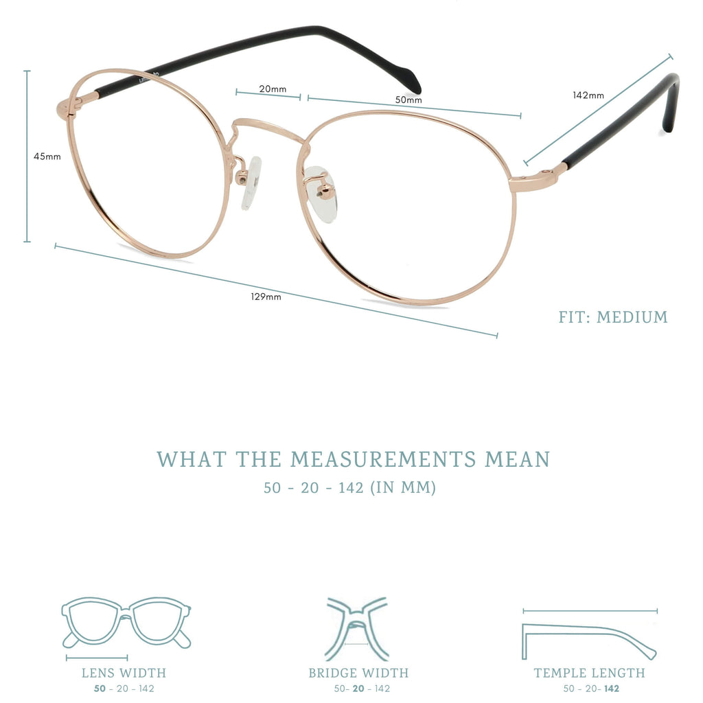 Sumi blue light blocking glasses measurements infographic.