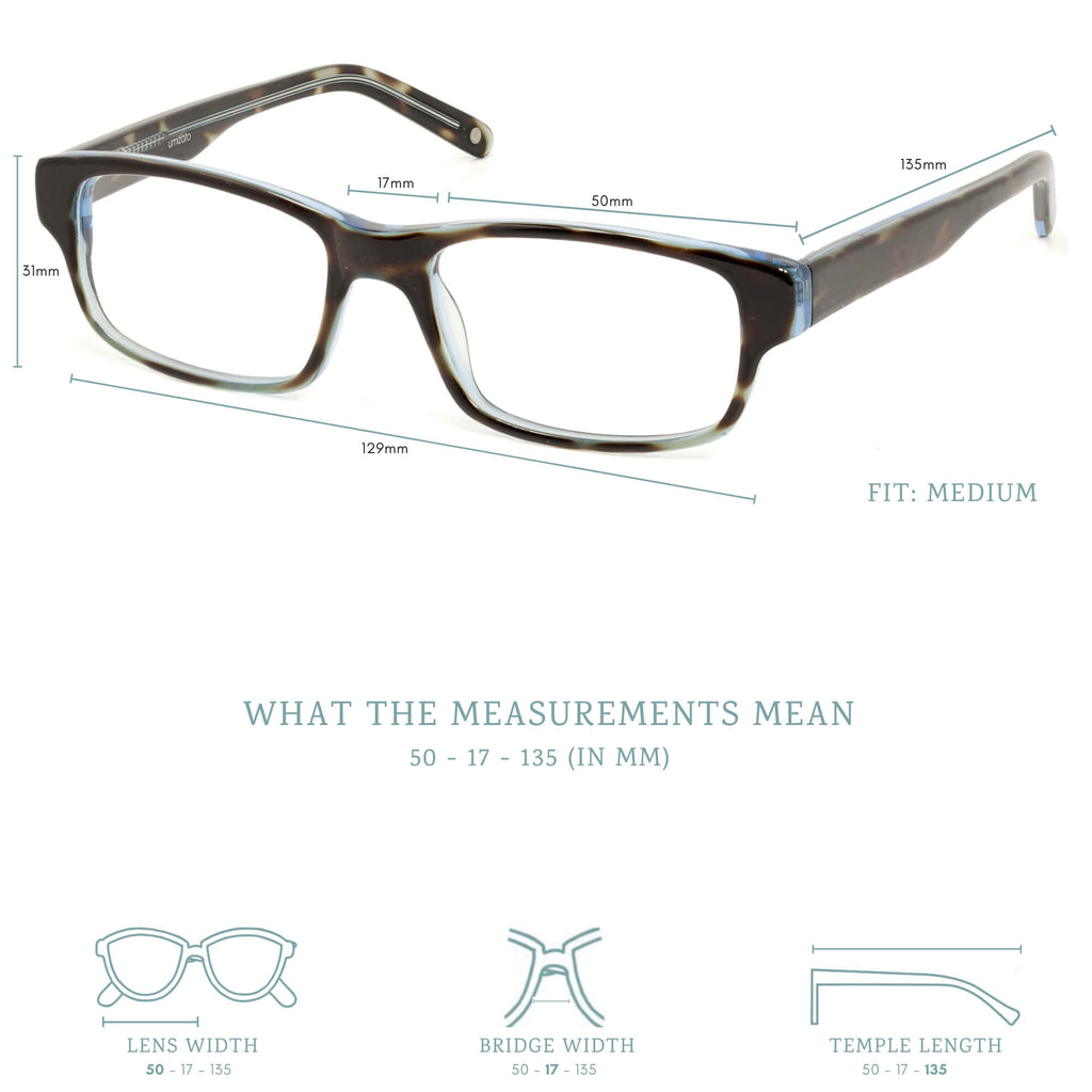 Darwin blue light blocking glasses measurements infographic.