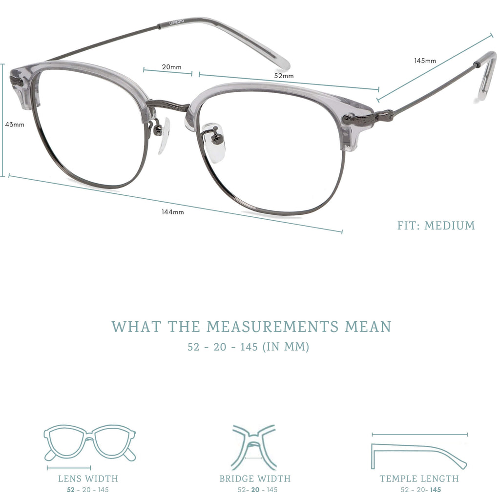 Hiro blue light blocking glasses measurements infographic.