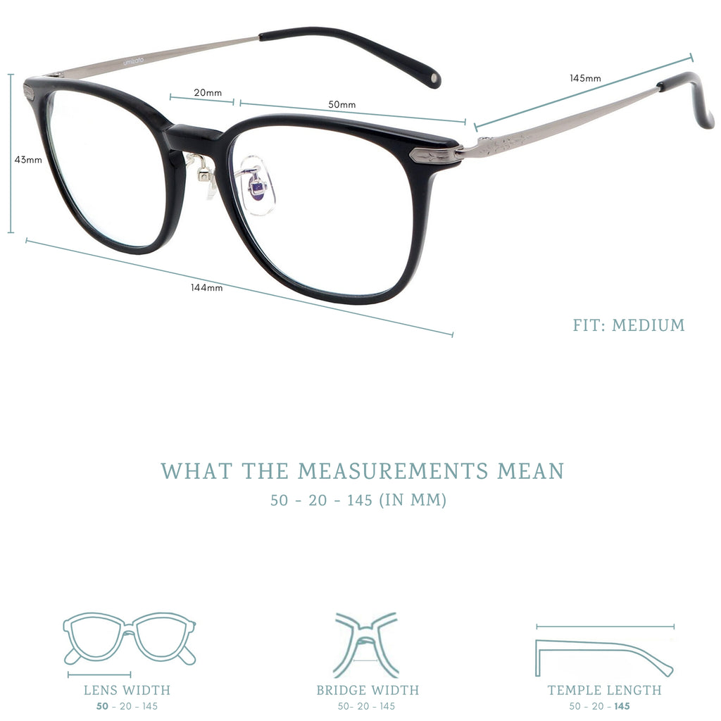 Hudson blue light blocking glasses measurements infographic.