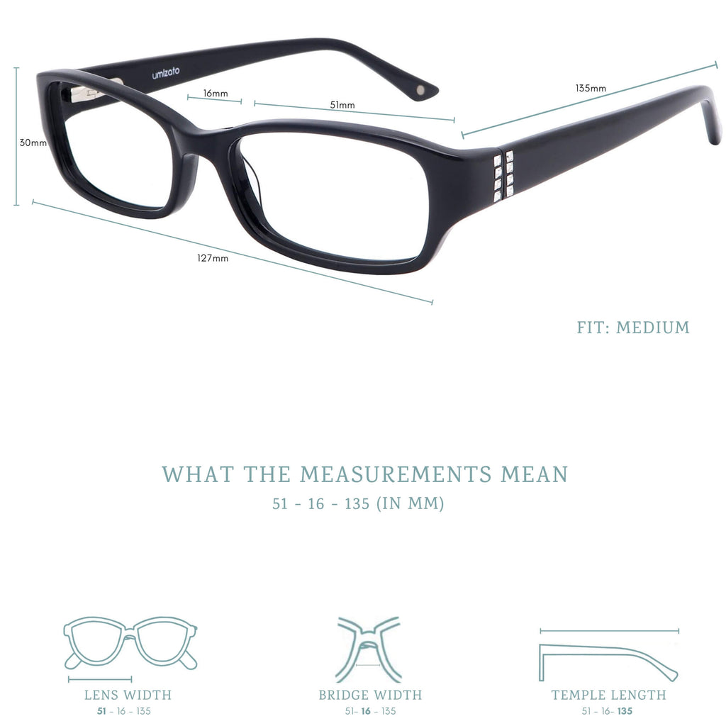 Perth blue light blocking glasses measurements infographic.