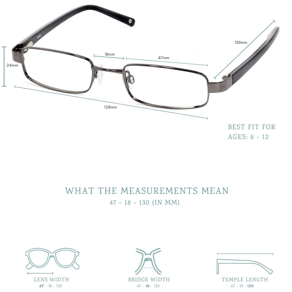 faraday blue light blocking glasses measurements infographic.