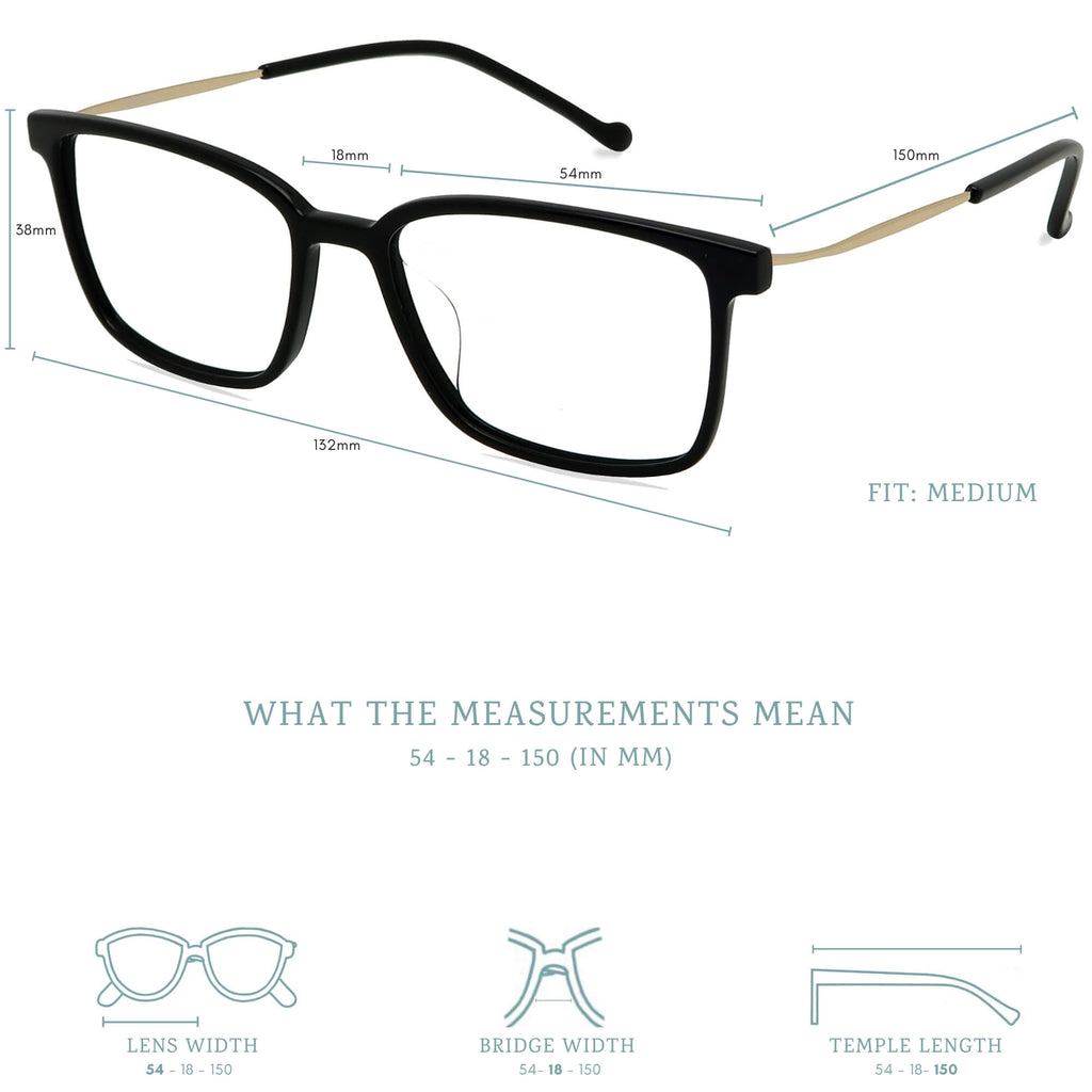Ken blue light blocking glasses measurements infographic.