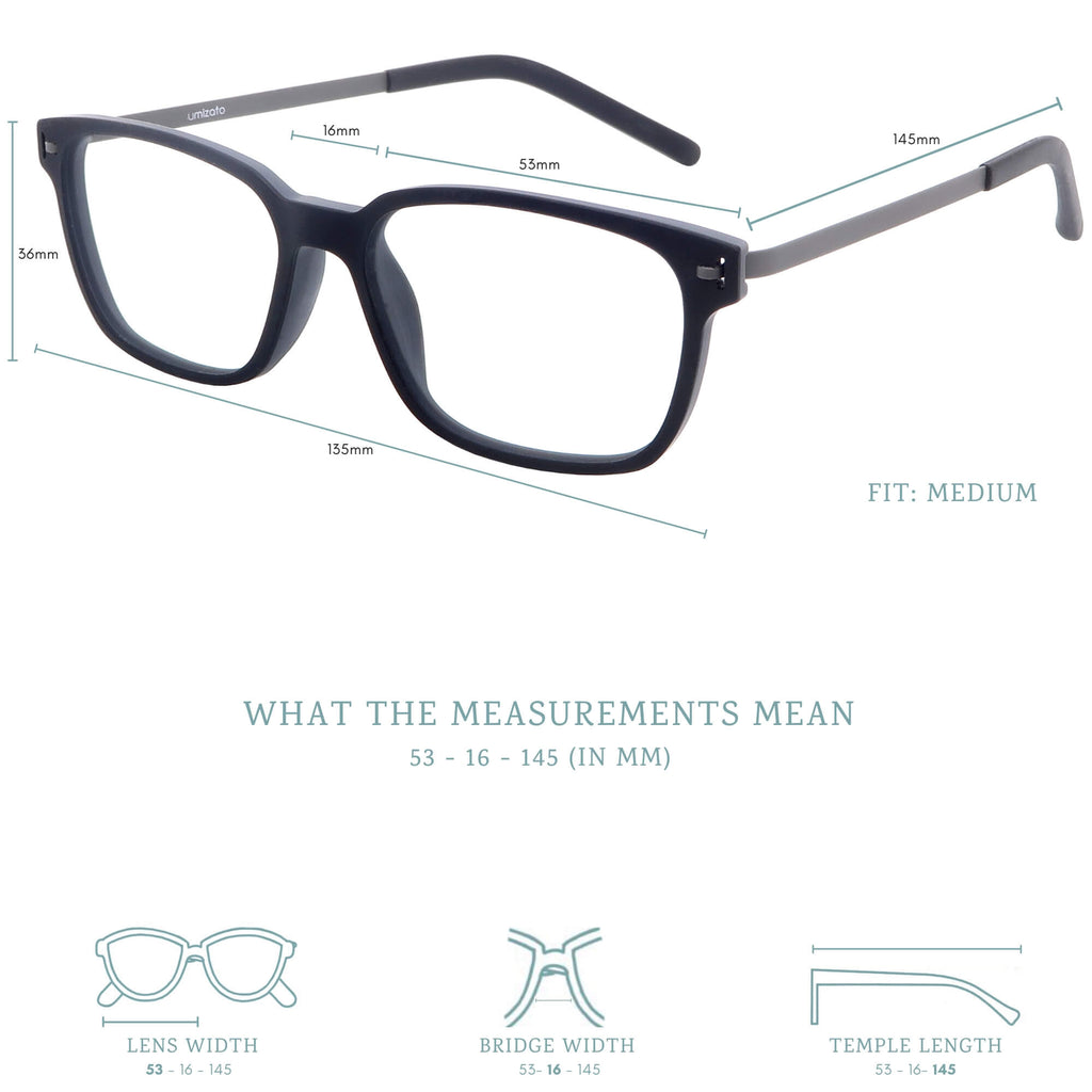 Pictor blue light blocking glasses measurements infographic.