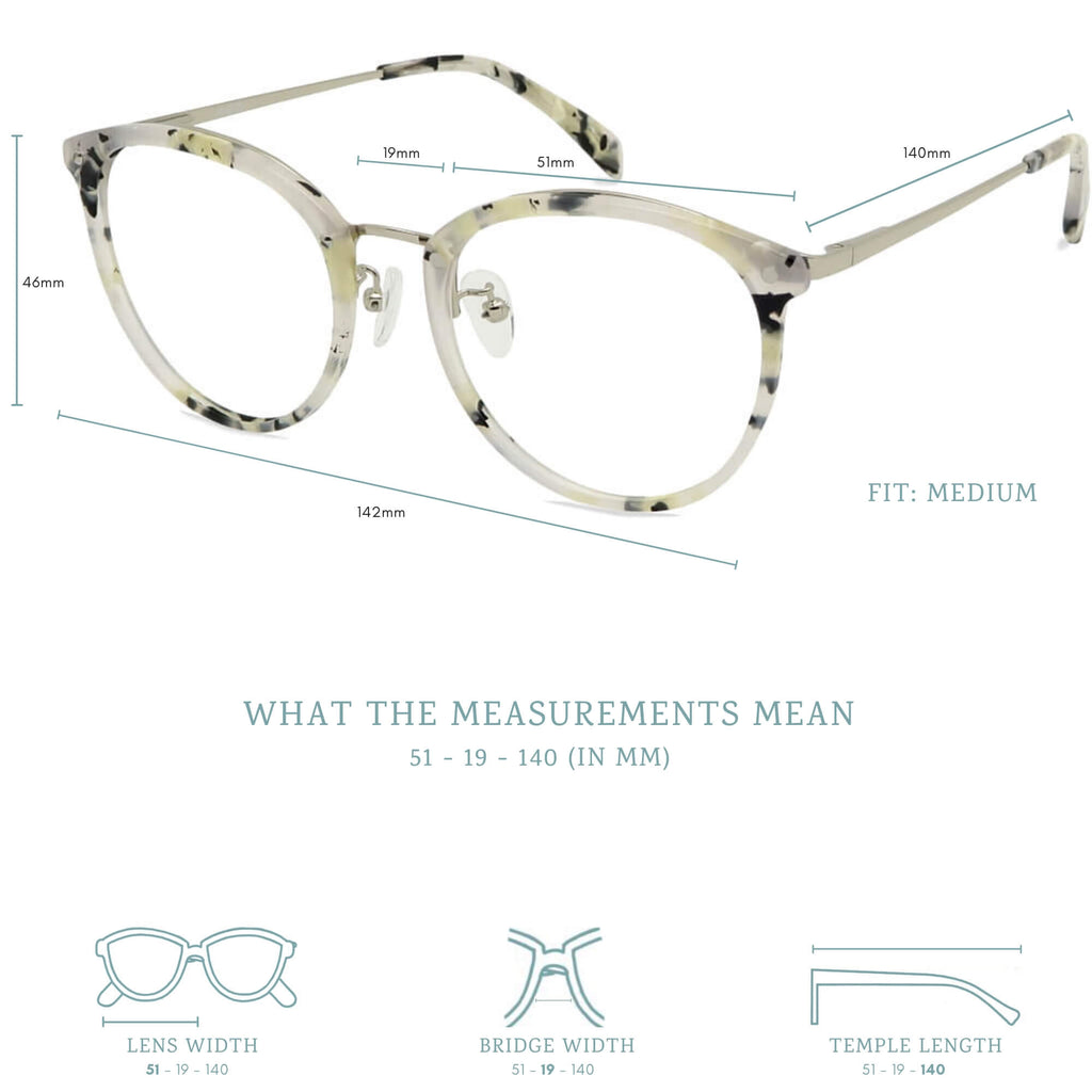 rei blue light blocking glasses measurements infographic.