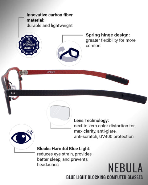 Nebula blue light blocking glasses features infographic