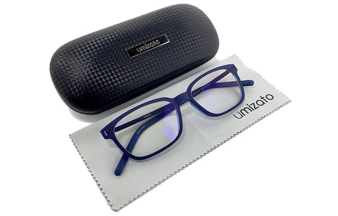 Premium Clear Lens Blue Light Blocking Computer Glasses - Men - UV400+ for Better Sleep - Anti-Glare, Reduce Digital Eye Strain, Anti- Fatigue, Dry Eyes - TR-90 and stainless steel frame (Blue)
