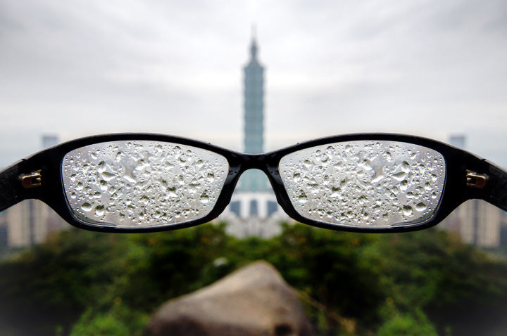Rainy foggy prescription glasses view
