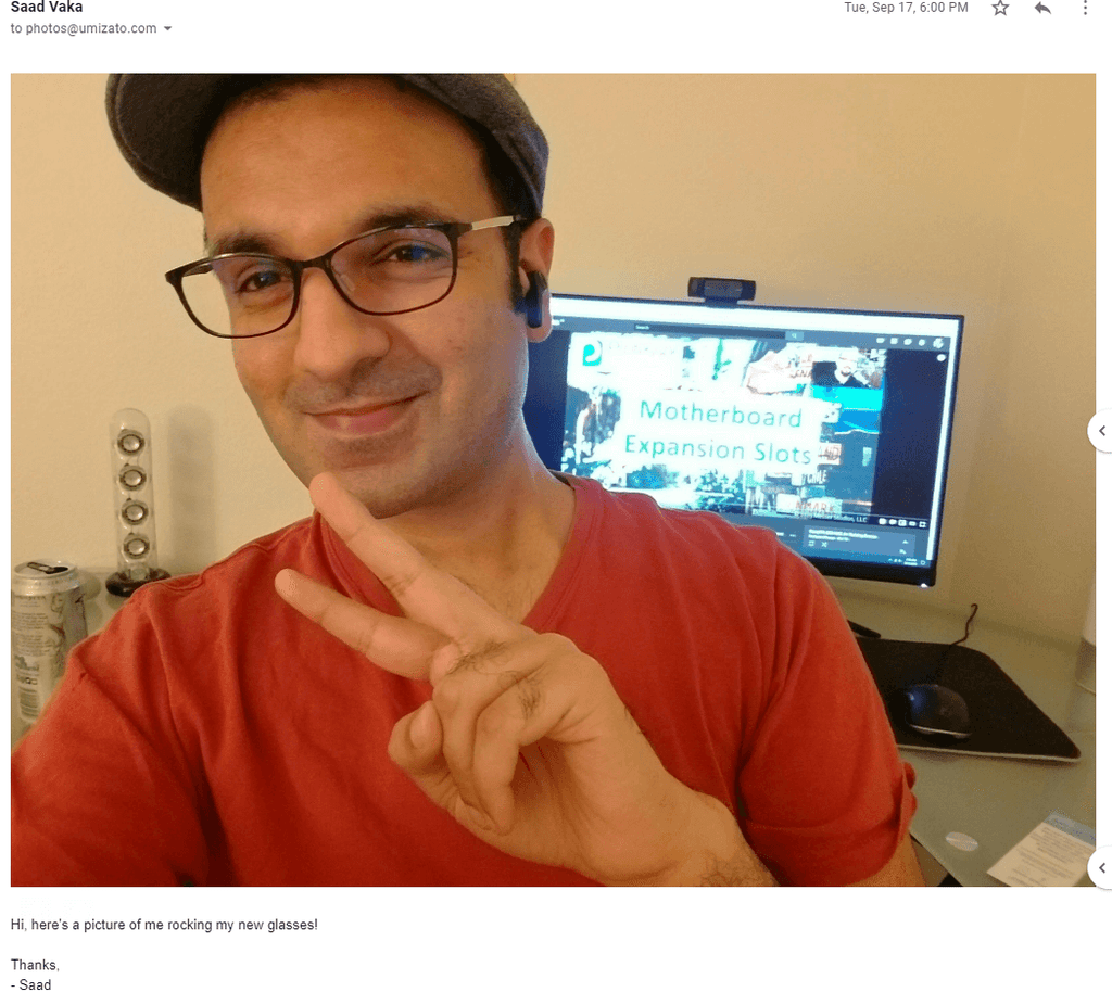 Saad Vaka rocking his new umizato computer glasses