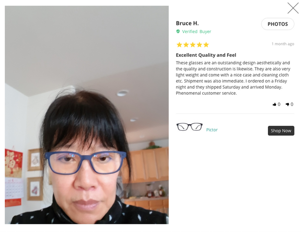 Umizato customer testimonial review five star blue light filter glasses