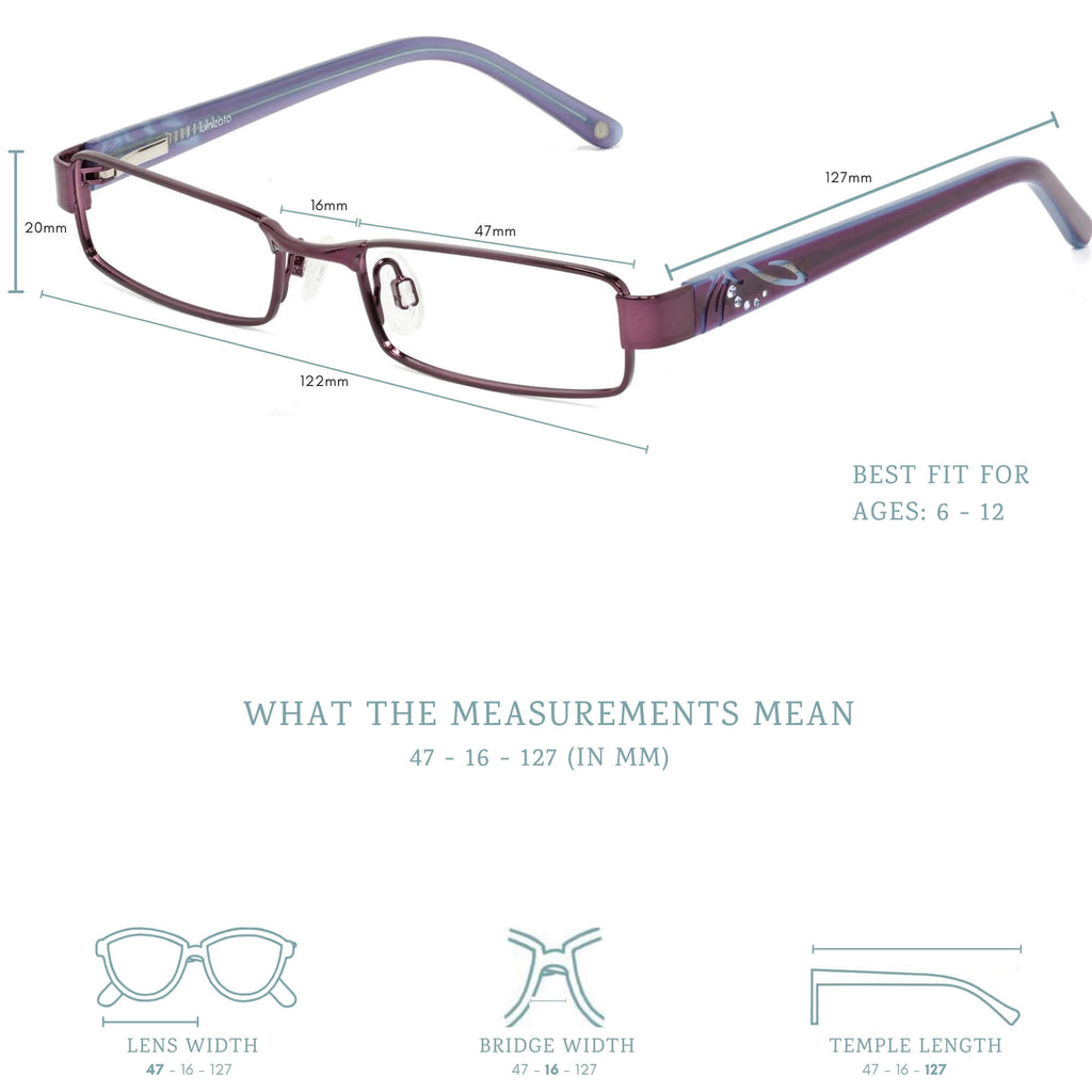 Amelia blue light blocking glasses measurements infographic.