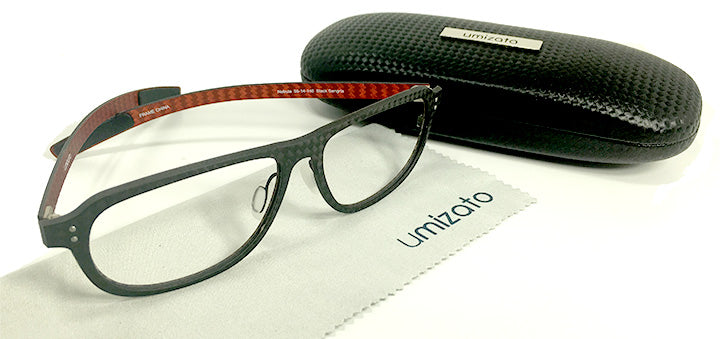 carbon fiber prescription glasses black red full rim nebula | umizato