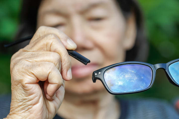 fixing broken black prescription glasses