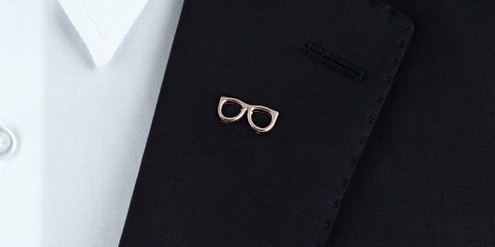 Blazer with an eyeglasses lapel pin