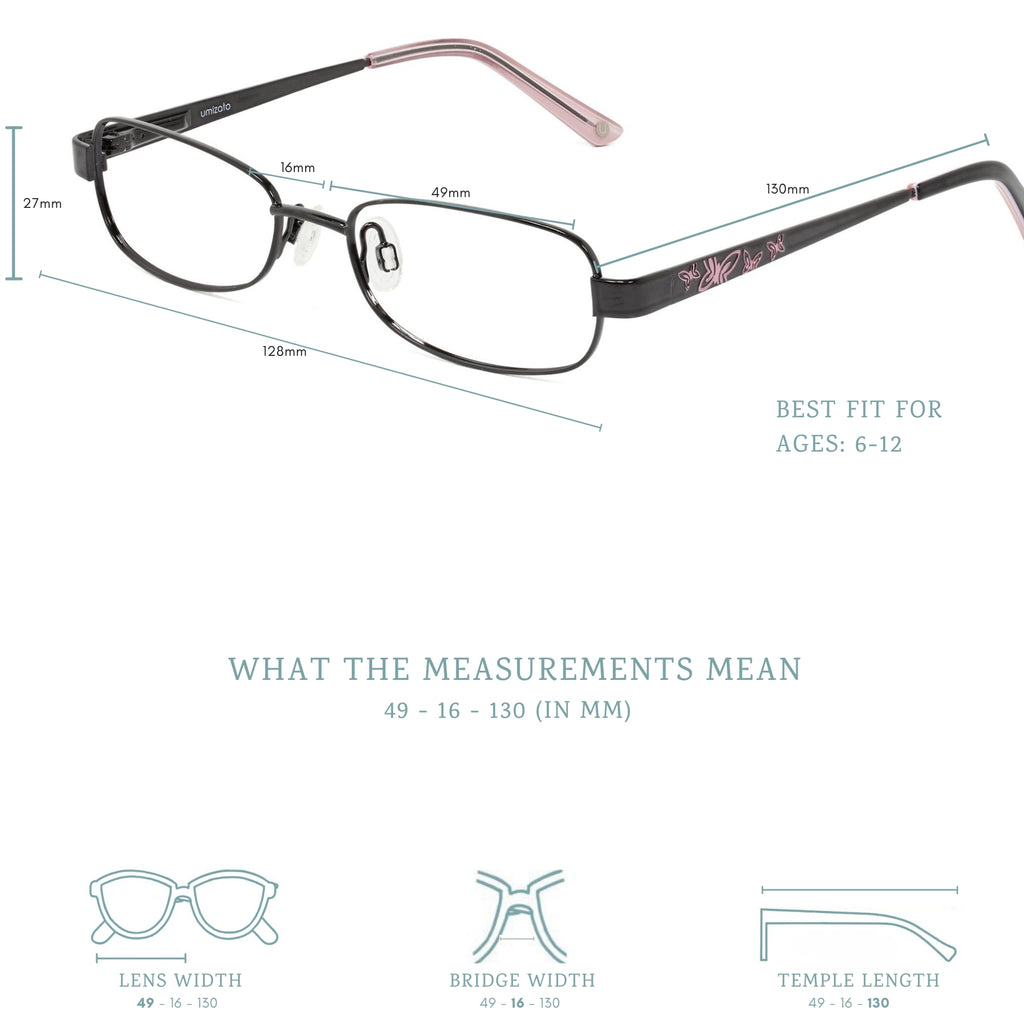 louisa may blue light blocking glasses measurement infographic.