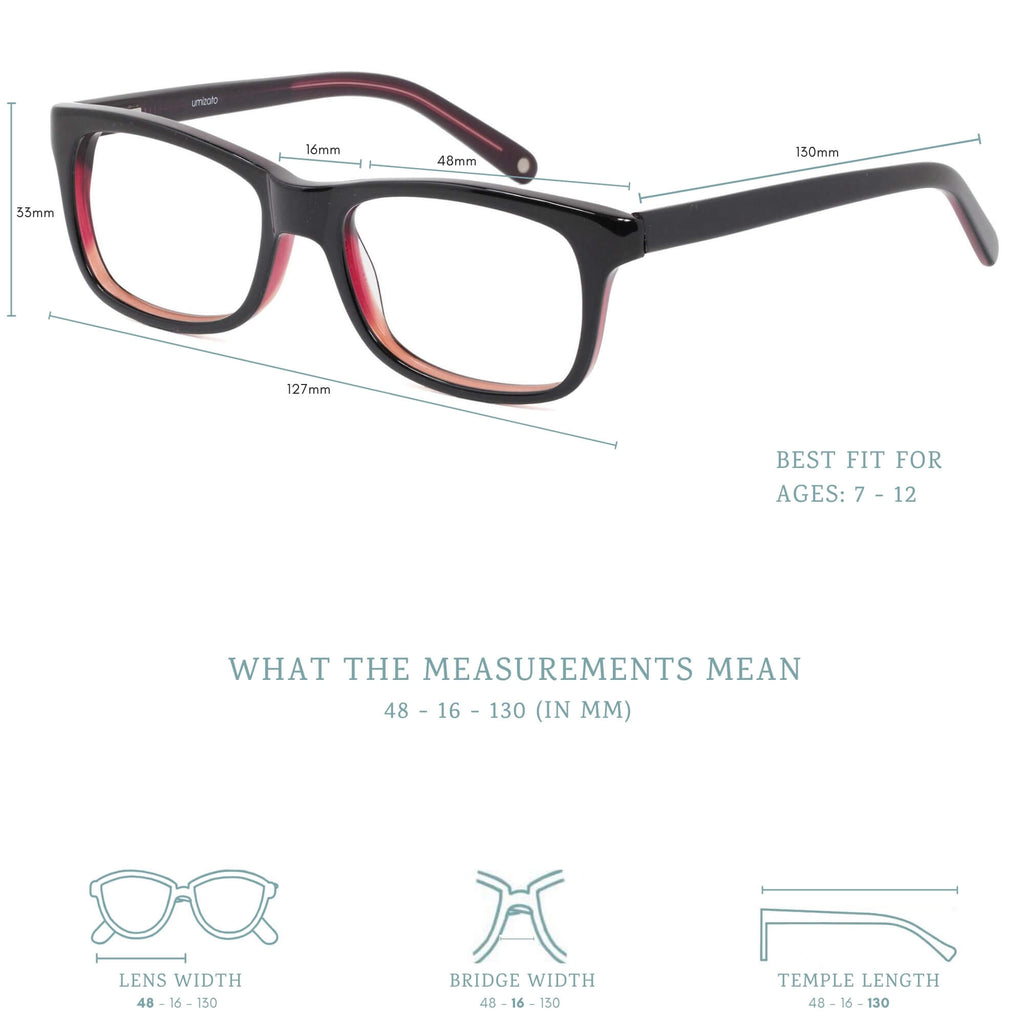 nightingale blue light blocking glasses measurements infographic.