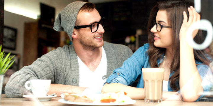 Valentines day date sweet couple with prescription glasses