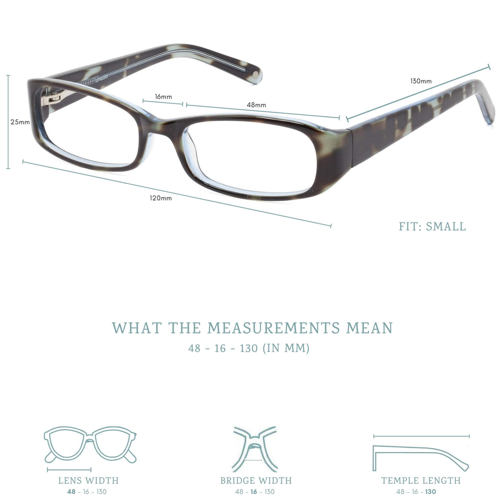 Sybil blue light blocking glasses measurements infographic.