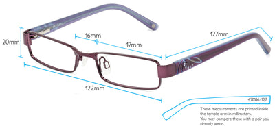 Amelia Computer Gaming Glasses Frame Measurements