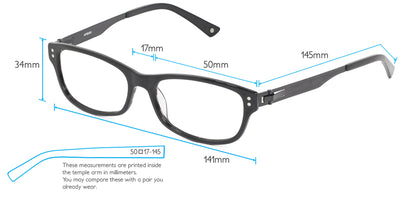 Bagan Computer Gaming Glasses Frame Measurements