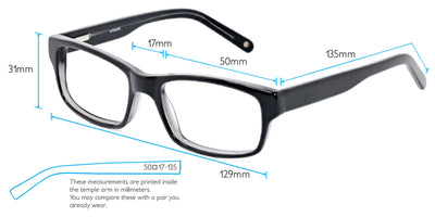 Darwin Computer Gaming Glasses Frame Measurements