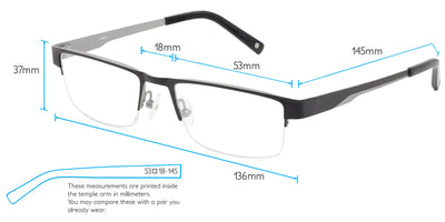 Fuji Computer Gaming Glasses Frame Measurements