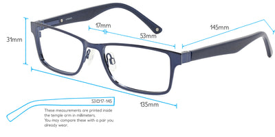 Kobe Computer Gaming Glasses Frame Measurements