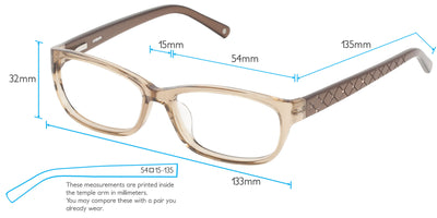 Olinda Computer Gaming Glasses Frame Measurements