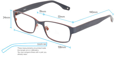 Ouray Computer Gaming Glasses Frame Measurements