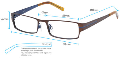 Seattle Computer Gaming Glasses Frame Measurements