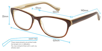 Sofia Computer Gaming Glasses Frame Measurements