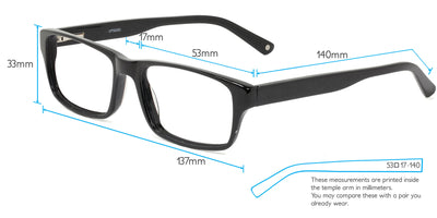 Toronto Computer Gaming Glasses Frame Measurements