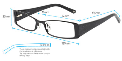Vienna Computer Gaming Glasses Frame Measurements