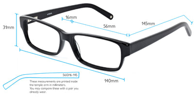 Zephyr Computer Gaming Glasses Frame Measurements