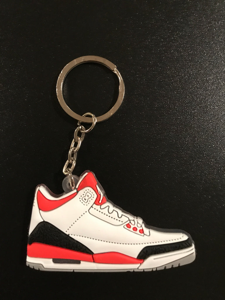 "Jordan 3 Retro ""Fire Red"" Sneaker Keychain"