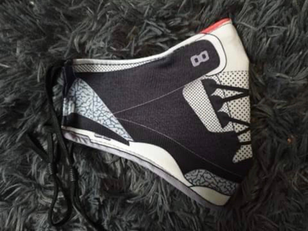 Black Cement 3 Sneaker Face Mask